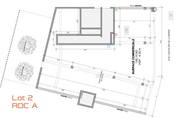 Local commercial de 190 m2 Le Jardin de Thalie sur Bègles : Lot n°2 au rez-de-chaussée, bâtiment A.