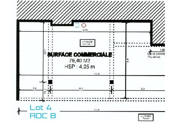 Local commercial sur Bègles, Le Jardin de Thalie de 82 m2 : Lot n°4 au rez-de-chaussée, bâtiment B.